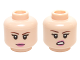 Part No: 3626cpb1463  Name: Minifigure, Head Dual Sided Female Dark Brown Eyebrows, Dark Pink Lips with Closed Mouth Smile / Open Mouth Lip Raised Pattern (Penny) - Hollow Stud