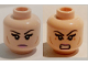 Part No: 3626cpb1479  Name: Minifigure, Head Dual Sided Female Black Eyebrows, Eyelashes, Pink Lips, Cheek Lines, Frown / Bared Teeth Pattern (Karai) - Hollow Stud