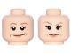 Part No: 3626cpb1489  Name: Minifigure, Head Dual Sided Female Dark Tan Eyebrows, Flesh Lips, Laugh Lines, Smirk / Eyebrow Raised Pattern (Princess Leia) - Hollow Stud