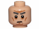 Part No: 3626cpb1514  Name: Minifigure, Head Dark Gray Eyebrows Bushy, Sunken Eyes, Cheek Lines, Chin Dimple and Forehead Wrinkles Pattern (SW First Order General) - Hollow Stud