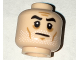 Part No: 3626cpb1579  Name: Minifigure, Head Beard White Stubble, Black Eyebrows, Cheek Lines Pattern (Commander Gregor) - Hollow Stud
