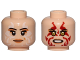 Part No: 3626cpb1623  Name: Minifigure, Head Dual Sided Female, Peach Lips, White Tribal Tattoos, Smile / Red Tribal Tattoos, Angry Pattern (SW Naare) - Hollow Stud