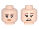 Part No: 3626cpb1627  Name: Minifigure, Head Dual Sided Female, Reddish Brown Eyebrows, Dark Tan Lips Neutral / Scared Pattern - Hollow Stud