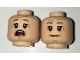 Part No: 3626cpb1636  Name: Minifigure, Head Dual Sided Female Dark Bluish Gray Eyebrows, Wrinkles, Smile / Open Mouth Scared Pattern - Hollow Stud