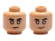 Part No: 3626cpb1654  Name: Minifigure, Head Dual Sided Black Eyebrows, White Eyes, Stern / Crooked Grin Pattern (SW Chirrut Îmwe / Imwe) - Hollow Stud