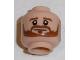 Part No: 3626cpb1669  Name: Minifigure, Head Beard Brown Bushy Full, Brown Eyebrows, White Pupils, Smile Pattern (Shkodran Mustafi) - Hollow Stud