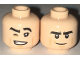 Part No: 3626cpb1698  Name: Minifigure, Head Dual Sided Black Eyebrows, Tan Cheek Lines, Winking with Grin with Teeth / Determined Pattern - Hollow Stud