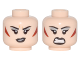 Part No: 3626cpb1734  Name: Minifigure, Head Dual Sided Female Silver Eyeshadow, Dark Red Triangular Cheek Patches, Smile / Barred Teeth Angry Pattern (Magpie) - Hollow Stud