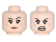 Part No: 3626cpb1780  Name: Minifigure, Head Dual Sided Female Black Eyebrows, Dark Orange Cheek Lines and Lips, Eyebrow Raised / Open Mouth Angry Pattern - Hollow Stud
