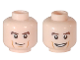 Part No: 3626cpb1782  Name: Minifigure, Head Dual Sided Brown Eyebrows, Cheek Lines, Smile / Smile with Teeth Pattern - Hollow Stud
