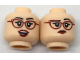 Part No: 3626cpb1785  Name: Minifigure, Head Dual Sided Female Dark Red Glasses and Lips, Quizzical / Excited Pattern - Hollow Stud