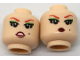 Part No: 3626cpb1786  Name: Minifigure, Head Dual Sided Female Red Eyebrows, Green Eyeshadow,  Worried / Pursed Lips Pattern - Hollow Stud