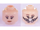 Part No: 3626cpb1920  Name: Minifigure, Head Dual Sided Female Brown Eyebrows, Red Lips, Smile / Breathing Mask Pattern (SW Princess Leia) - Hollow Stud