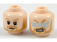 Part No: 3626cpb1939  Name: Minifigure, Head Dual Sided Dark Orange Eyebrows and Beard, Neutral / Angry with Lightning Eyes Pattern - Hollow Stud