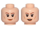 Part No: 3626cpb1971  Name: Minifigure, Head Dual Sided Female Brown Eyebrows, Light Orange Lips and Cheek Lines, Smile / Open Mouth Pattern (SW Vice Admiral Holdo) - Hollow Stud