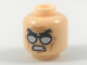 Part No: 3626cpb1977  Name: Minifigure, Head Black Angry Eyebrows, Silver Glasses, Gritted Teeth Pattern - Hollow Stud