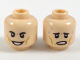 Part No: 3626cpb2002  Name: MInifig, Head Dual Sided, Black Eyebrows, Dark Orange Cheek Lines, Smiling / Worried with Sweat Drops Pattern - Stud Recessed