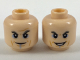 Part No: 3626cpb2003  Name: Minifig, Head Dual Sided, Dark Orange Brow and Cheek Lines, Light Blue Eyeshadow and Line Under Mouth, Smug / Smile Pattern- Stud Recessed