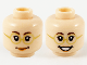 Part No: 3626cpb2031  Name: Minifigure, Head Dual Sided Female Glasses with Gold Frames, Peach Lips, Smiling / Smiling with Teeth Pattern - Hollow Stud