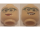 Part No: 3626cpb2032  Name: Minifigure, Head Dual Sided Female Glasses with Dark Green Frames, Red Lips, Smiling / Smiling with Teeth Pattern - Hollow Stud