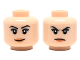 Part No: 3626cpb2066  Name: Minifigure, Head Dual Sided Female Black Eyebrows, Peach Lips, Smirk/Frown Pattern - Hollow Stud
