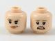 Part No: 3626cpb2103  Name: Minifigure, Head Dual Sided Female Dark Tan Eyebrows, Peach Lips, Smirk / Scared Pattern (Ellie Sadler) - Hollow Stud