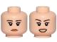Part No: 3626cpb2109  Name: Minifigure, Head Dual Sided Female Dark Brown Eyebrows, Orange Lips, Neutral / Smile Pattern - Hollow Stud