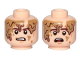 Part No: 3626cpb2138  Name: Minifigure, Head Dual Sided Brown Eyebrows, Cheek Lines, Chin Dimple, Mud Stains, Determined / Scared Pattern (SW Han Solo, Mudtrooper) - Hollow Stud