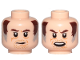 Part No: 3626cpb2151  Name: Minifigure, Head Dual Sided Dark Brown Eyebrows, Brown and Gray Sideburns, Stubble, Mouth Closed / Open Pattern (SW Wuher) - Hollow Stud