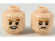 Part No: 3626cpb2182  Name: Minifigure, Head Dual Sided Dark Orange Eyebrows, Age Lines, Lopsided Smirk / Scowl Pattern - Hollow Stud