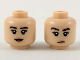 Part No: 3626cpb2197  Name: Minifigure, Head Dual Sided Female Dark Brown Eyebrows, Peach Lips, Neutral Expression / Small Smile Pattern - Hollow Stud