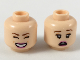 Part No: 3626cpb2213  Name: Minifigure, Head Dual Sided Female Reddish Brown Eyebrows, Peach Eyeshadow, Magenta Lips, Smile with Closed Eyes/Scared Pattern - Hollow Stud