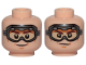 Part No: 3626cpb2233  Name: Minifigure, Head Dual Sided Brown Eyebrows, Cheek Lines, Chin Dimple, Goggles, Smile / Determined Pattern (SW Han Solo) - Hollow Stud