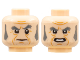 Part No: 3626cpb2254  Name: Minifigure, Head Dual Sided Dark Bluish Gray Eyebrows and Sideburns, Cheek Lines, Frown / Mouth with Teeth Pattern - Hollow Stud