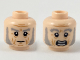 Part No: 3626cpb2255  Name: Minifig, Head Dual Sided Light Bluish Gray Eyebrows and Muttonchops, Medium Dark Flesh Age Lines, Neutral / Scared Expression Pattern - Hollow Stud