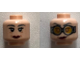 Part No: 3626cpb2258  Name: Minifigure, Head Dual Sided Female Dark Bluish Gray Eyebrows, Dark Red Lips, Eyes with Pupils / Goggles Pattern (Madame Hooch) - Hollow Stud