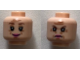 Part No: 3626cpb2260  Name: Minifigure, Head Dual Sided Female Reddish Brown Eyebrows, Eyes with Pupils, Wrinkles, Pink Lips, Smile / Frown Pattern (Dolores Umbridge) - Hollow Stud