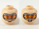 Part No: 3626cpb2273  Name: Minifigure, Head Dual Sided Female, Large Goggles with Orange Lenses, Smirk / Smile Pattern - Hollow Stud