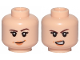 Part No: 3626cpb2293  Name: Minifigure, Head Dual Sided Female Brown Eyebrows, Eyelashes, Peach Lips, Smile / Angry Pattern - Hollow Stud