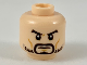 Part No: 3626cpb2301  Name: Minifigure, Head with Black Eyebrows, Goatee, Light Beard, Medium Dark Flesh Cheek Lines Pattern - Hollow Stud