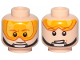 Part No: 3626cpb2302  Name: Minifigure, Head Dual Sided Orange Visor, Brown Eyebrows, Chin Strap, Smile, Visor Down / Visor Up Pattern (SW Luke Skywalker) - Hollow Stud