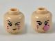 Part No: 3626cpb2305  Name: Minifigure, Head Dual Sided Female, Black Eyebrows, Dark Pink Stripes on Cheeks, Left Eye Winking / Blowing Bubblegum Bubble Pattern - Hollow Stud