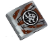 Part No: 15068pb023  Name: Slope, Curved 2 x 2 No Studs with Tiger Stripes, Alien Skull and Rivets Pattern (Sticker) - Set 70220