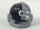 Part No: 19026pb02  Name: Minifig, Headgear Helmet Cyborg Side Open with Black Top Side, Red Eye and Dark Azure Dot Pattern
