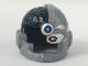 Part No: 19026pb02  Name: Minifigure, Headgear Helmet Cyborg Side Open with Black Top Side, Red Eye and Dark Azure Dot Pattern