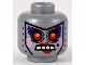 Part No: 3626cpb1048  Name: Minifigure, Head Alien Female with Red Eyes, Crude Dark Purple, Bright Pink, and Red Makeup and Beauty Mark Pattern - Hollow Stud