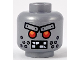 Part No: 3626cpb1054  Name: Minifig, Head Alien with Red Eyes, Metal Eyebrows with Rivets, Broken Teeth and Stubble Bolts Pattern - Stud Recessed