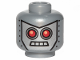 Part No: 3626cpb1083  Name: Minifigure, Head Alien with Red Eyes, 4 Mouth Squares and Rivets Pattern - Hollow Stud
