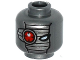 Part No: 3626cpb1537  Name: Minifigure, Head Alien with Mechanical Right Eye Red, Silver Face Mask Pattern - Hollow Stud