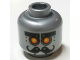 Part No: 3626cpb1653  Name: Minifig, Head Alien with Robot Yellow Eyes and Curly Moustache Pattern - Stud Recessed